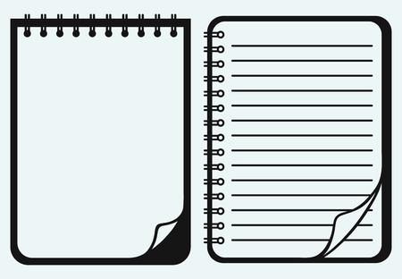 black pictogram: Notebook isolated on blue background