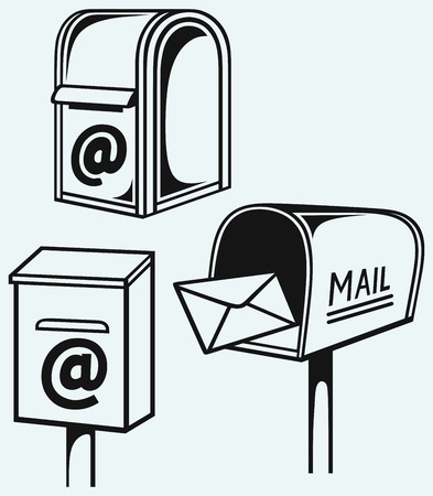 mail box: Open Mailbox with letters isolated on blue background