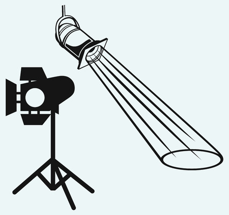 searchlight: Overhead lights with beam  Studio lighting  Isolated on blue background