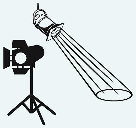 studio lighting: Overhead lights with beam  Studio lighting  Isolated on blue background