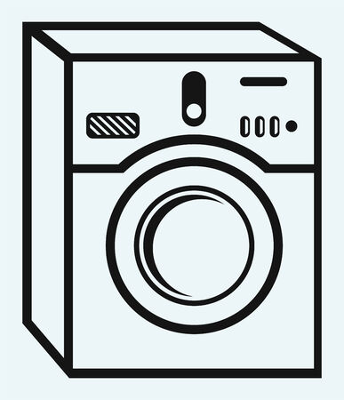 wash drawing: Washing machine  Isolated on blue background Illustration