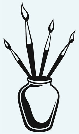 used items: Brushes in vase Illustration
