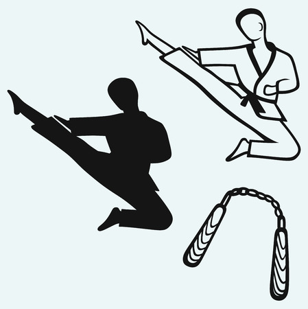 Karate male, young fighter and nunchaku weapon Vector