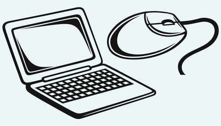netbook: Netbook and computer mouse Illustration
