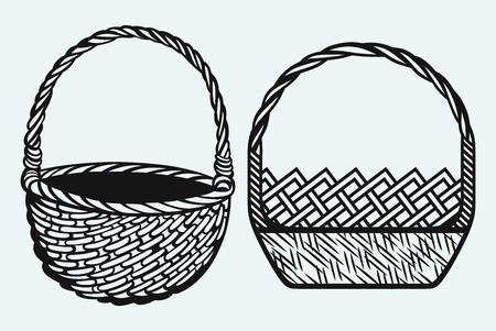 picnic basket: Empty wicker basket Illustration