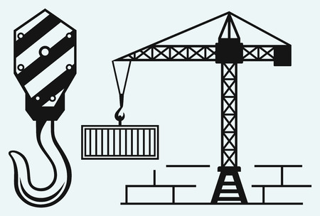 pulley: Crane working and hook of a crane Illustration