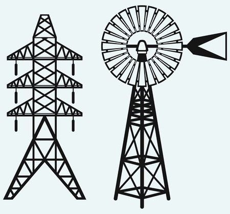 electricity pylon: Old windmill and electric pole