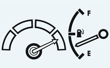 gas gauge: Indicator  Gas tank  Isolated on blue background