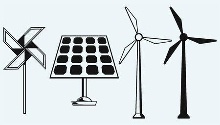 Solar-Panel und Windmühle auf blauem Hintergrund isoliert