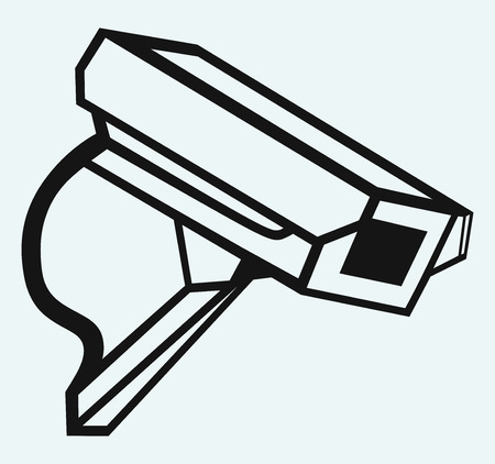 caution cctv: Outdoor surveillance camera  Isolated on blue background
