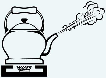 gas stove: Tea kettle on gas stove  Isolated on blue background