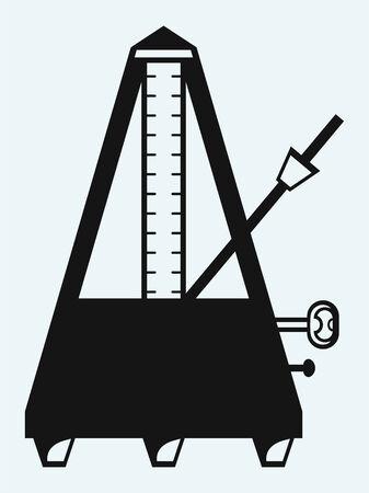 Musical metronome  Isolated on blue background Illustration