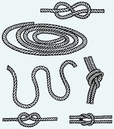rope knot: Nautical rope knots  Isolated on blue background