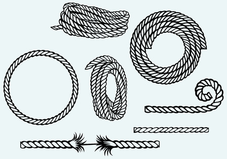 Nautical rope knots  Isolated on blue background