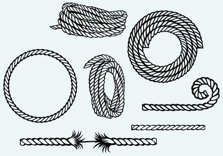 Nautische touw knopen Geà ¯ soleerd op een blauwe achtergrond Stockfoto - 27735934