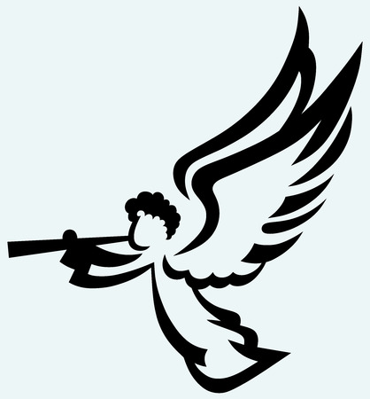 Angel with trumpet  Isolated on blue background Vector