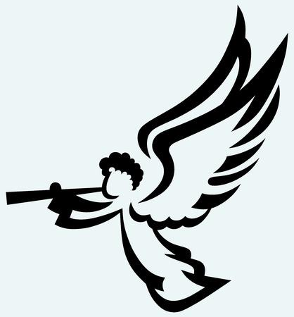 Engel met trompet geïsoleerd op blauwe achtergrond Stock Illustratie
