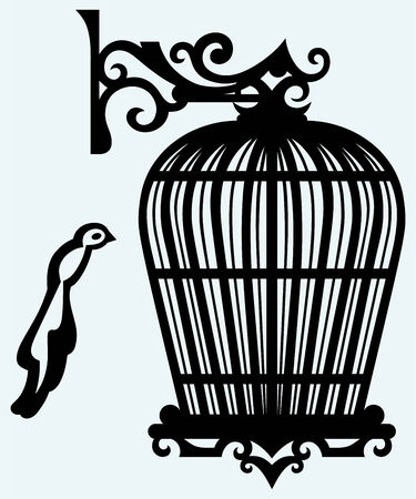 jail bird: Vintage bird cages  Isolated on blue background