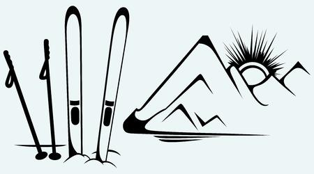 Bergen en ski-uitrusting geïsoleerd op blauwe achtergrond Vector Illustratie