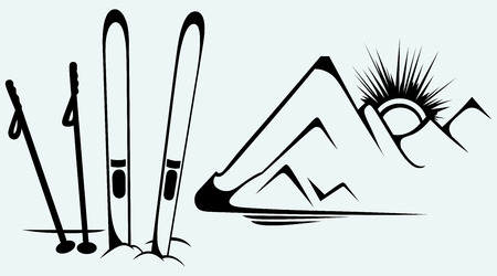 ski slope: Mountains and ski equipments  Isolated on blue background