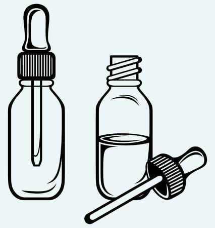 Open geneeskunde fles met een druppelaar geïsoleerd op blauwe achtergrond Stockfoto - 27735964