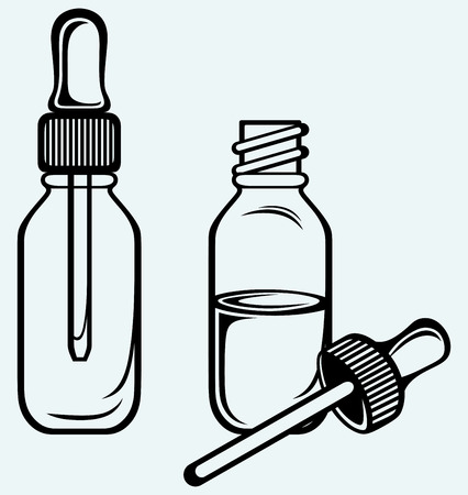 medical bottles: Open medicine bottle with a dropper  Isolated on blue background