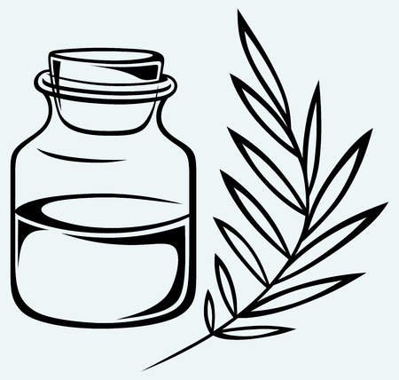 fragrance: Geurolie Geà ¯ soleerd op een blauwe achtergrond