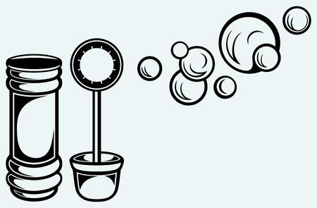 bulles de savon: Bouteille et des bulles de savon isolé sur fond bleu