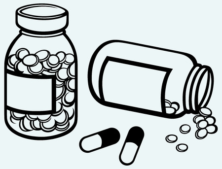 blue pills: Pill bottle  Spilling pills on to surface  Isolated on blue background Illustration