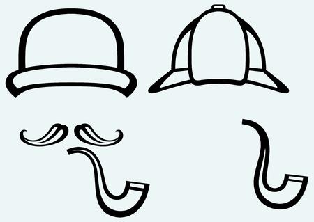 headpiece: Sherlock Holmes  Icon Detective  Isolated on blue background