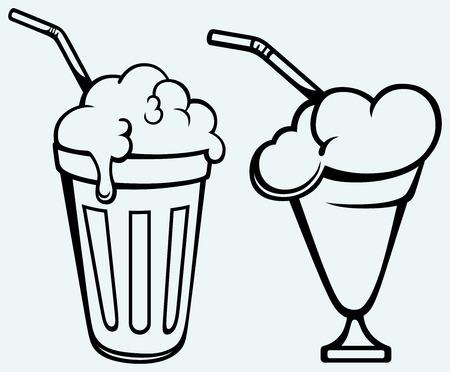 shakes: Milk shake  Isolated on blue background