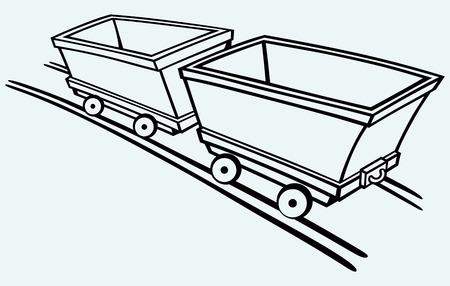 iron ore: Mining cart  Isolated on blue background Illustration