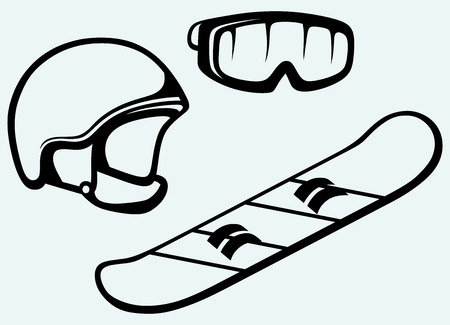 Set equipment for snowboarding  Snowboard, helmet and mask  Isolated on blue background