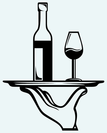 permit: Bottle of wine with a glass on a tray  Isolated on blue background