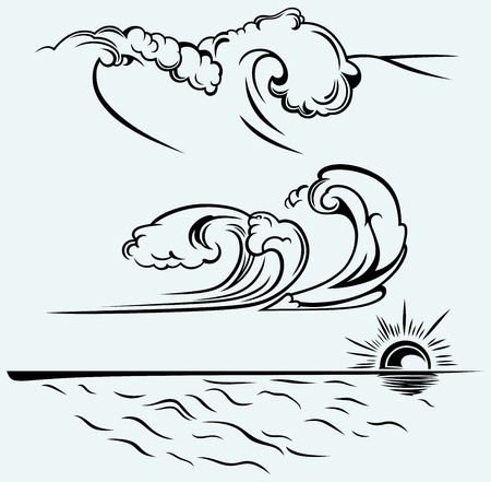Beautiful ocean wave Isolated on blue background Vektorové ilustrace
