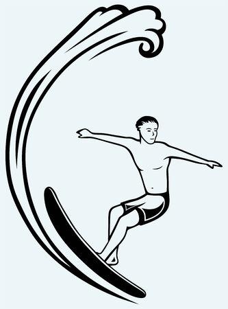 vague ocean: Surfer sur des vagues oc�aniques Isol� sur fond bleu