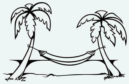 maldives island: Romantic hammock between palm trees  Isolated on blue background