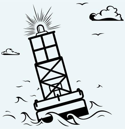 buoy: Warning buoy off the coast  Isolated on blue background