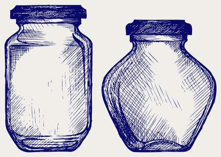 Glass jars  Doodle style Illustration