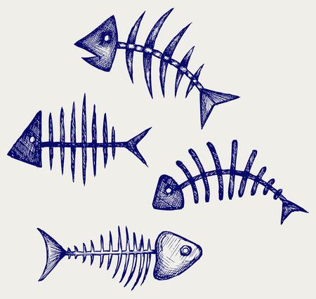 dead fish: Fish bone  Doodle style