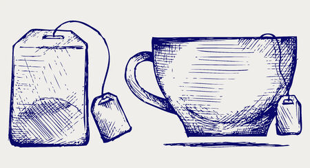 Tea bag and cup  Doodle style Vector