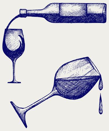 copa de vino: Botella de vino y copas de estilo Doodle
