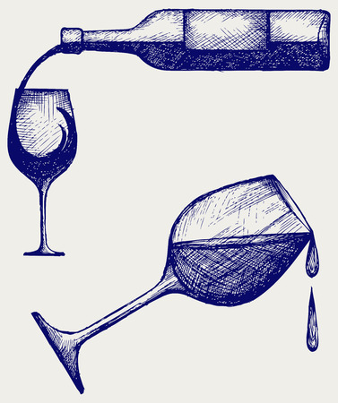 red wine pouring: Bottle of wine and glasses  Doodle style Illustration
