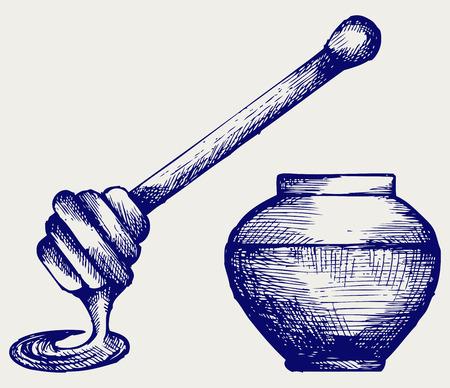 pot miel: Bois louche de miel et pot de miel de style Doodle Illustration
