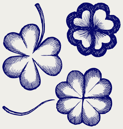 Set of hand drawn clovers  St  Patrick s day