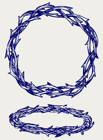 Crown of thorns  Doodle style Vector