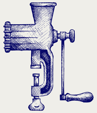 meat  grinder: The old manual meat grinder  Doodle style