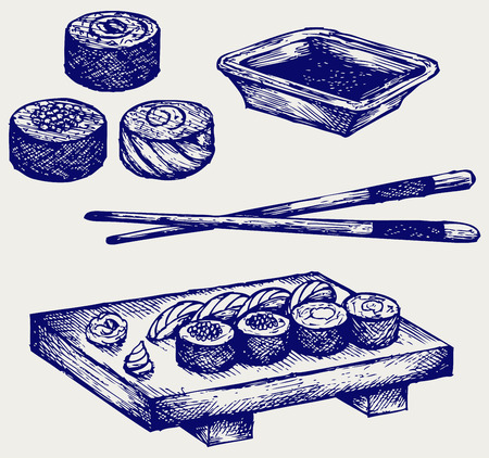 soy sauce: Sushi on a wooden board with chopsticks  Doodle style Illustration