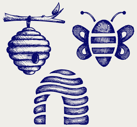 bee hive: Honey bees and hive  Doodle style