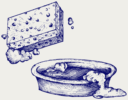 soak: Sponge and bowl of water  Doodle style